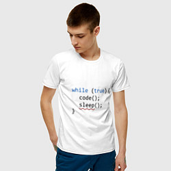 Футболка хлопковая мужская Code - sleep цвета белый — фото 2