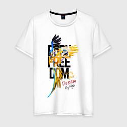 Мужская хлопковая футболка с принтом Born Freedom, цвет: белый, артикул: 10201310300001 — фото 1