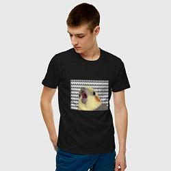 Мужская хлопковая футболка с принтом Орущий попугай, цвет: черный, артикул: 10203607300001 — фото 2