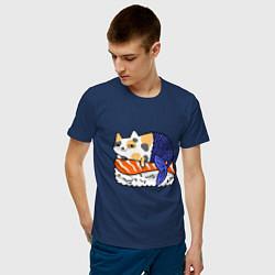 Футболка хлопковая мужская Sushi Cat цвета тёмно-синий — фото 2