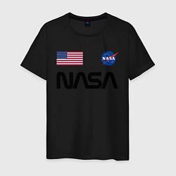 Футболка хлопковая мужская NASA НАСА цвета черный — фото 1