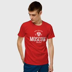 Футболка хлопковая мужская Москва Born in Russia цвета красный — фото 2