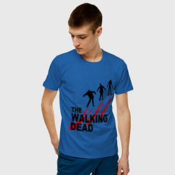 Мужская хлопковая футболка с принтом The walking dead, цвет: синий, артикул: 10020753900001 — фото 2