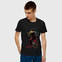 Футболка хлопковая мужская Стальной алхимик цвета черный — фото 2