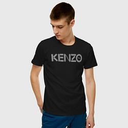 Футболка хлопковая мужская Кензо цвета черный — фото 2