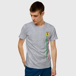 Футболка хлопковая мужская Ferrari цвета меланж — фото 2