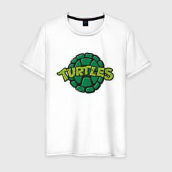 Мужская хлопковая футболка с принтом TURTLES, цвет: белый, артикул: 10214800700001 — фото 1