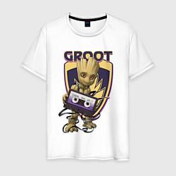 Футболка хлопковая мужская Groot цвета белый — фото 1