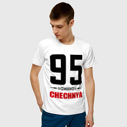Мужская хлопковая футболка с принтом 95 Chechnya, цвет: белый, артикул: 10022359500001 — фото 2