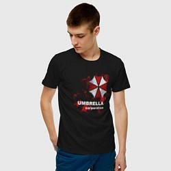Футболка хлопковая мужская Umbrella цвета черный — фото 2
