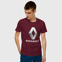 Футболка хлопковая мужская RENAULT цвета меланж-бордовый — фото 2