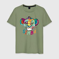 Мужская хлопковая футболка с принтом Simba Colourful, цвет: авокадо, артикул: 10266100700001 — фото 1