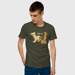 Мужская хлопковая футболка с принтом Love Me, цвет: меланж-хаки, артикул: 10266131700001 — фото 2