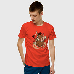 Мужская хлопковая футболка с принтом Тимон и Пумба, цвет: рябиновый, артикул: 10266217700001 — фото 2