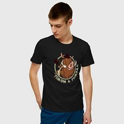 Мужская хлопковая футболка с принтом Тимон и Пумба, цвет: черный, артикул: 10266217700001 — фото 2