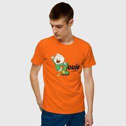 Футболка хлопковая мужская Louie цвета оранжевый — фото 2