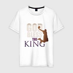 Мужская хлопковая футболка с принтом God Bless The King, цвет: белый, артикул: 10274332100001 — фото 1