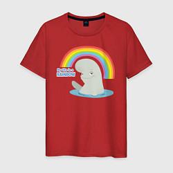 Футболка хлопковая мужская My Life Is A Rainbow цвета красный — фото 1