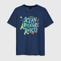 Футболка хлопковая мужская Ocean Adventuure Awaits цвета тёмно-синий — фото 1