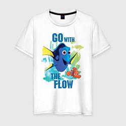 Футболка хлопковая мужская Go With The Flow цвета белый — фото 1