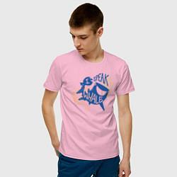 Футболка хлопковая мужская I Speak Whale цвета светло-розовый — фото 2