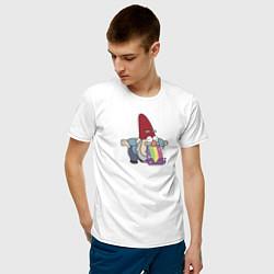 Мужская хлопковая футболка с принтом Радужный гном, цвет: белый, артикул: 10275013700001 — фото 2