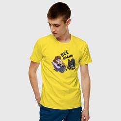 Мужская хлопковая футболка с принтом Все равно, цвет: желтый, артикул: 10275091900001 — фото 2