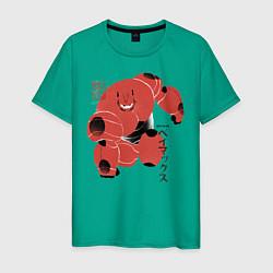 Футболка хлопковая мужская Бэймакс цвета зеленый — фото 1