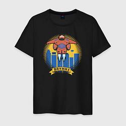 Футболка хлопковая мужская Бэймакс Город Героев 6 цвета черный — фото 1