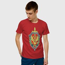 Футболка хлопковая мужская ФСБ цвета красный — фото 2
