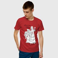 Футболка хлопковая мужская Белоснежка и яблоко цвета красный — фото 2