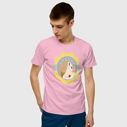 Футболка хлопковая мужская Гном Чихун цвета светло-розовый — фото 2