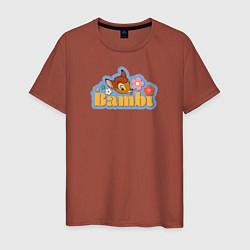 Футболка хлопковая мужская Бэмби цвета кирпичный — фото 1