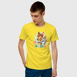 Футболка хлопковая мужская Бэмби цвета желтый — фото 2