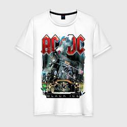 Мужская хлопковая футболка с принтом ACDC, Black ice, Рокеры, Паровоз, Метал, цвет: белый, артикул: 10278601700001 — фото 1