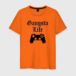 Футболка хлопковая мужская GANSTA LIFE цвета оранжевый — фото 1