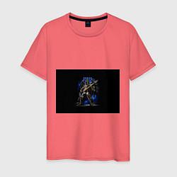 Футболка хлопковая мужская Настроить жнецов цвета коралловый — фото 1