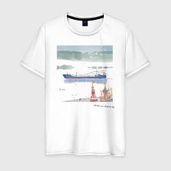 Футболка хлопковая мужская Волга цвета белый — фото 1