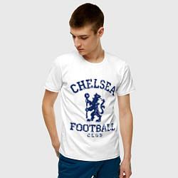 Футболка хлопковая мужская Chelsea FC: Lion цвета белый — фото 2