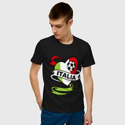 Мужская хлопковая футболка с принтом Italia Football, цвет: черный, артикул: 10036014900001 — фото 2