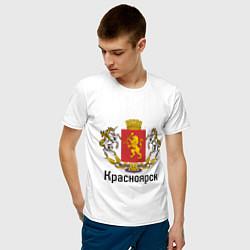 Футболка хлопковая мужская Красноярск цвета белый — фото 2