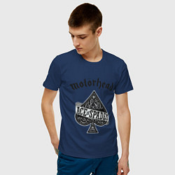 Футболка хлопковая мужская Motorhead: Ace of spades цвета тёмно-синий — фото 2