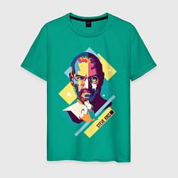Футболка хлопковая мужская Steve Jobs Art цвета зеленый — фото 1