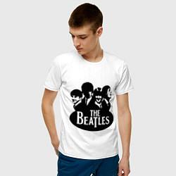 Футболка хлопковая мужская The Beatles Band цвета белый — фото 2