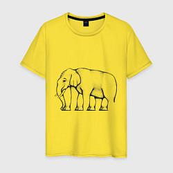 Футболка хлопковая мужская Сколько ног у слона цвета желтый — фото 1