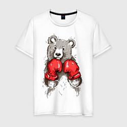 Футболка хлопковая мужская Bear Boxing цвета белый — фото 1