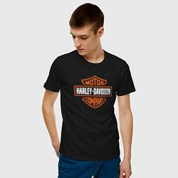 Футболка хлопковая мужская Харлей Дэвидсон цвета черный — фото 2