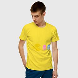 Футболка хлопковая мужская Pac-Man: Fast Eat цвета желтый — фото 2
