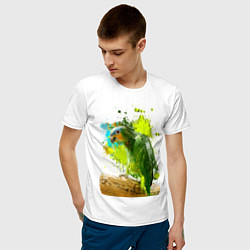 Мужская хлопковая футболка с принтом Зеленый попугай, цвет: белый, артикул: 10065280100001 — фото 2