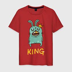 Мужская хлопковая футболка с принтом Rabbit King, цвет: красный, артикул: 10084409900001 — фото 1